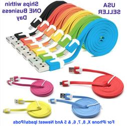 For iPhone 8, X, 7, 6, & 5 Charger 8-pin USB Noodle Data Syn