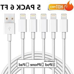 iPhone Charger, Cablex Lightning Cable 5Pack 6FT Ultra Long