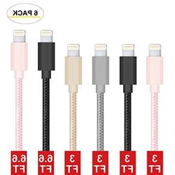 iPhone Charger, Lightning Cable 6 pack, Compatible with for