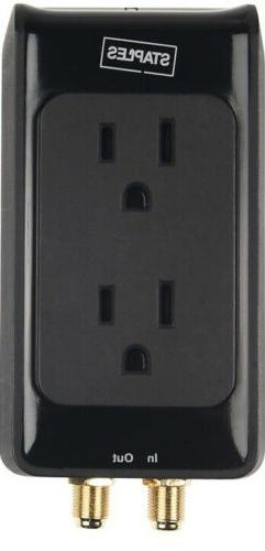 Staples 2-Outlet 1500 Joule Home Entertainment Surge Protect