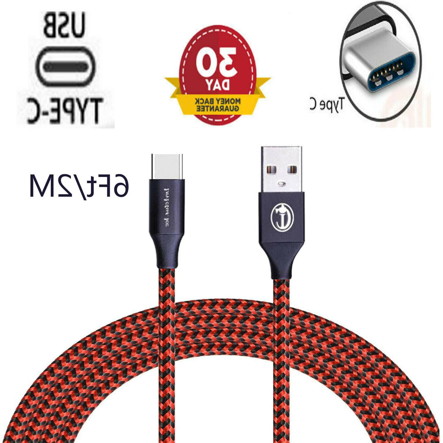 3/6/10 FT USB-C Nylon Braided Rope Sync Charger Charging Cable Cord