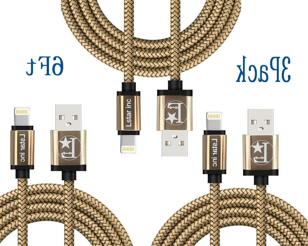 3 Pack 10 Ft Lightning Cable Heavy Duty iPhone X 7 6 plus Ch