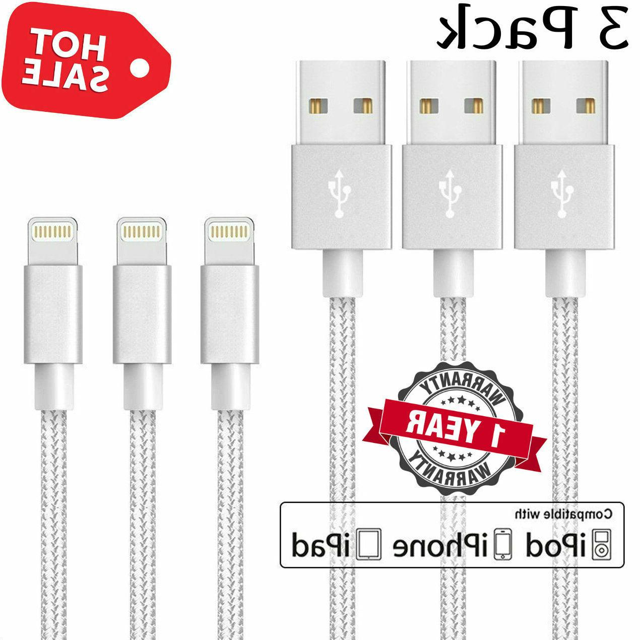 3 PACK 10FT For Apple iPhone 8 Plus 7 6S Lightning USB Charg