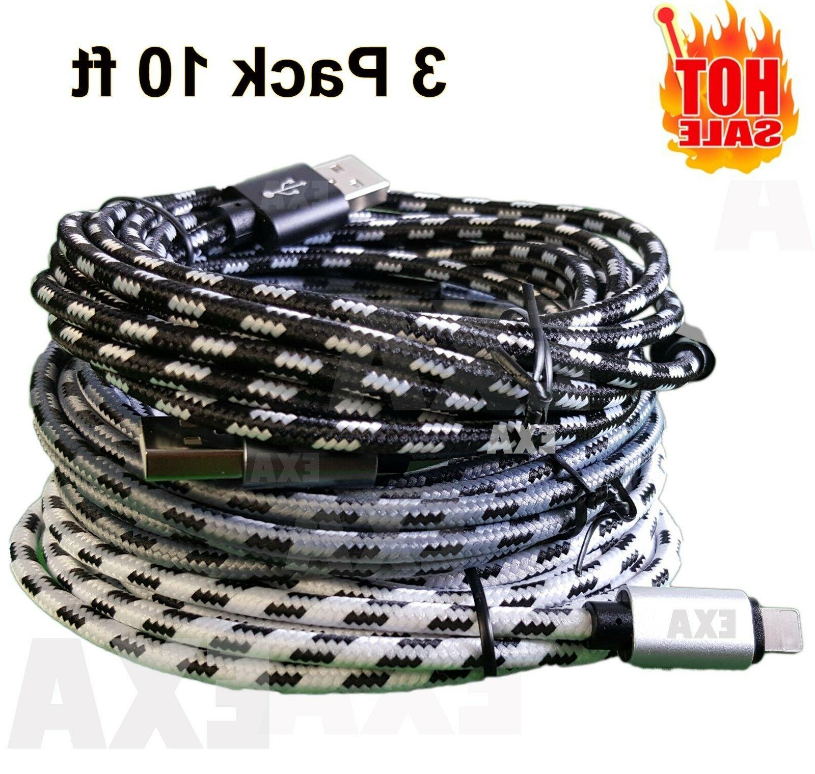 3 pack 10 ft long cable heavy
