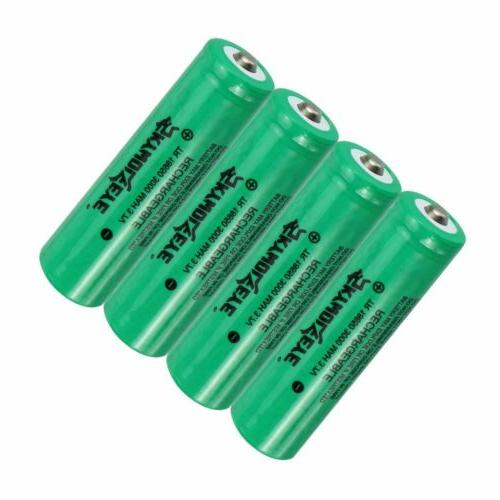 4x 18650 3000mAh 3.7V Rechargeable Battery For + Charger