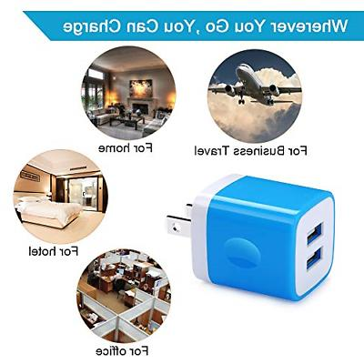 5Pack Charger 2.1A Quick Dual Port Wall Charger Box Cubes Compatible