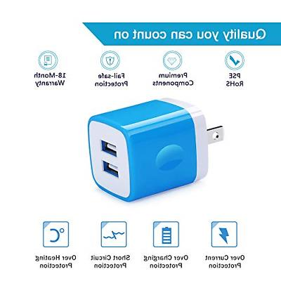 5Pack Plug 2.1A Port Wall Charger Box Cubes Compatible