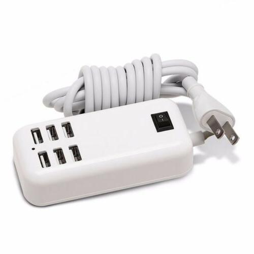 6 port multiple usb travel wall charger