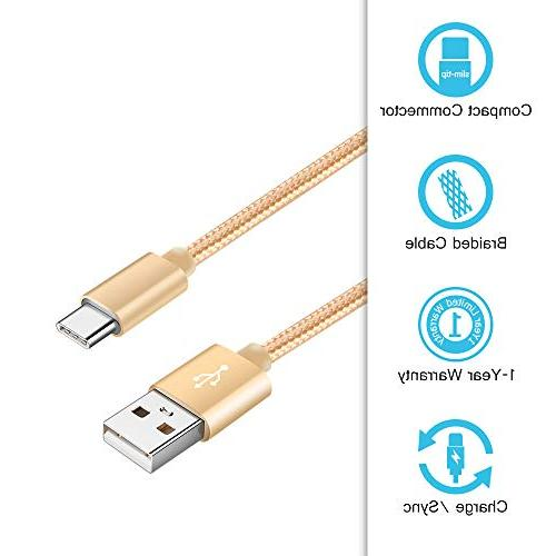 6FT USB Type-C Cable with Charger, 2.1A/5V USB Cube Adapter Plug Block Compatible S9/S9+/S8/S8+/Note LG