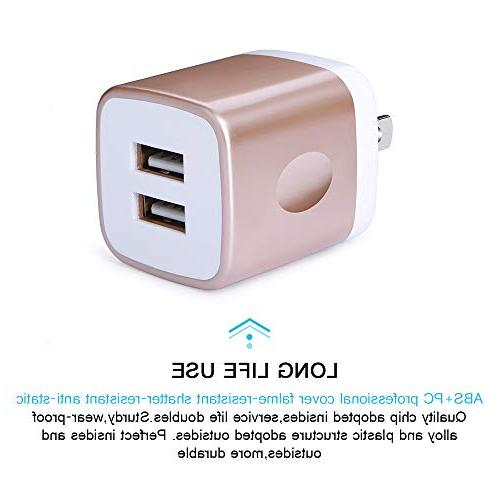 6FT Type-C Cable with Charger, Kakaly USB Cube Adapter Wall Plug Charging Block Samsung S9/S9+/S8/S8+/Note