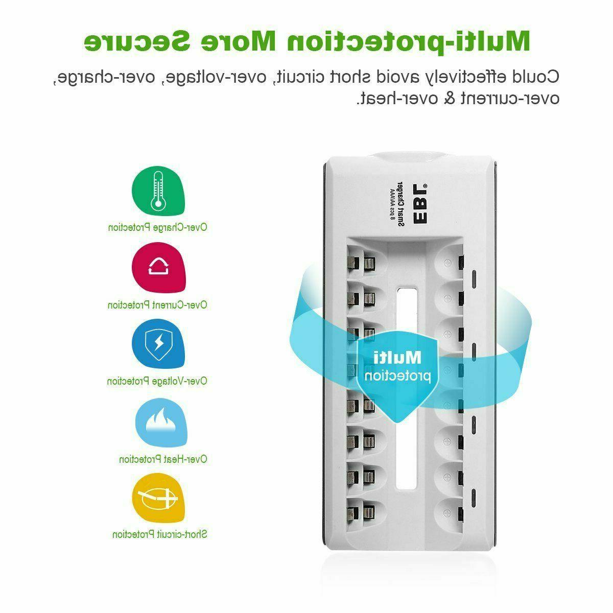 EBL 8 AAA NiMH NiCD Rechargeable Smart -NEW