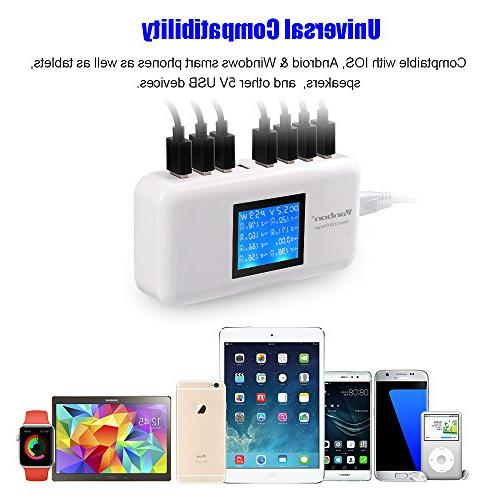 Multiple 60W/12A 8-Port Station Fast Wall Hub LCD Smart Phones, Tablet More