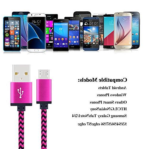 Android Premium 6FT Nylon USB A to Charger Cable Galaxy S7, S6 HTC, PS4