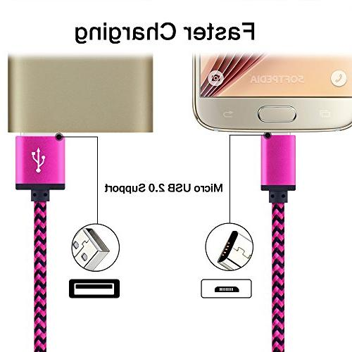 Android Charger Cable, Premium 3-Pack Extra 6FT Charger Galaxy S6 HTC, PS4