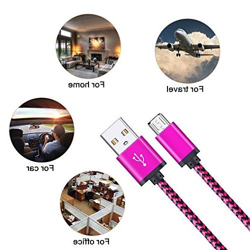 Micro Premium 4-Pack Long 6FT USB A to Charging Cords for Samsung Edge,