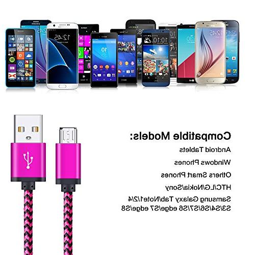 Micro Cable, Premium 4-Pack 6FT USB to Charging Cords Samsung Galaxy Edge, Sony, Blackberry, LG