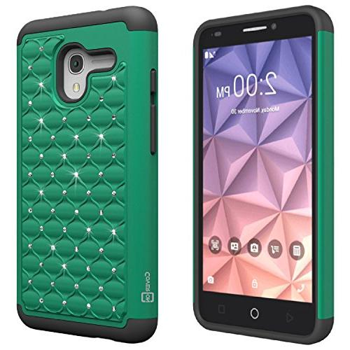 CoverON Aurora Series Alcatel OneTouch Hybrid with Hard Rhinestone Bling Bundle with Home Charger + Car Charger -