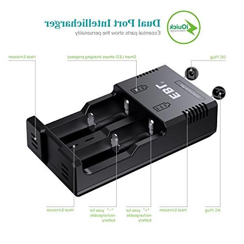 EBL Battery Charger for Li-ion/IMR/Ni-MH/Ni-Cd 26650 22650 18490 18350 17670 17335 16340 RCR123 10440 AA AAA Rechargeable Battery with Technology