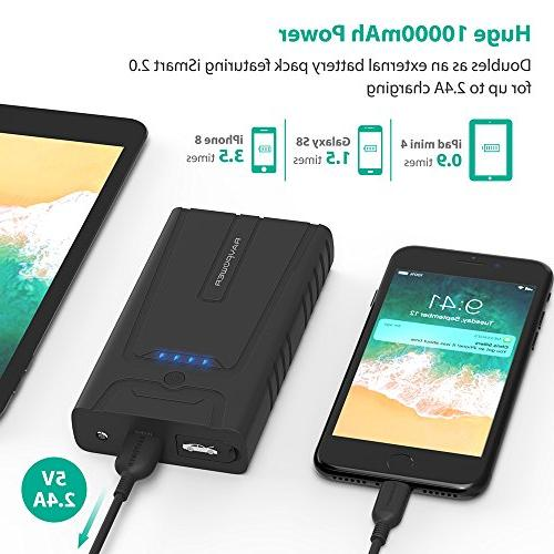 RAVPower Jump 10000mAh 400A Portable Car Battery Charger with for up to Gasoline Auto Battery Booster Power Pack and Phone Power Bank