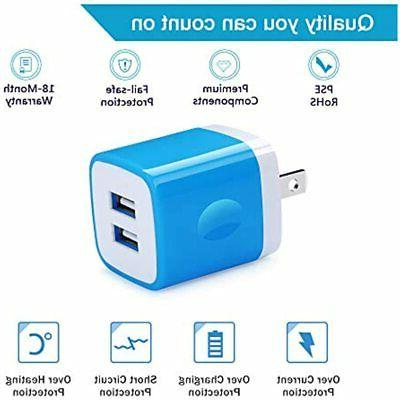 Charger Plug, 5Pack 2.1A Port Wall Box Cubes IPhone