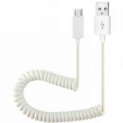 COILED MICRO USB CABLE FAST POWER SYNC CELL