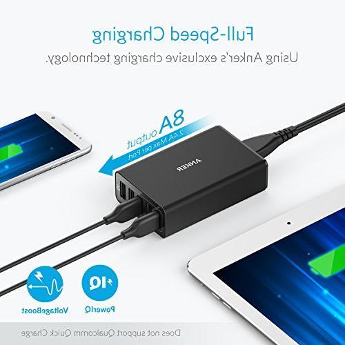 Anker 40W Desktop USB Charger with Technology + USB to USB for HTC, Motorola and More
