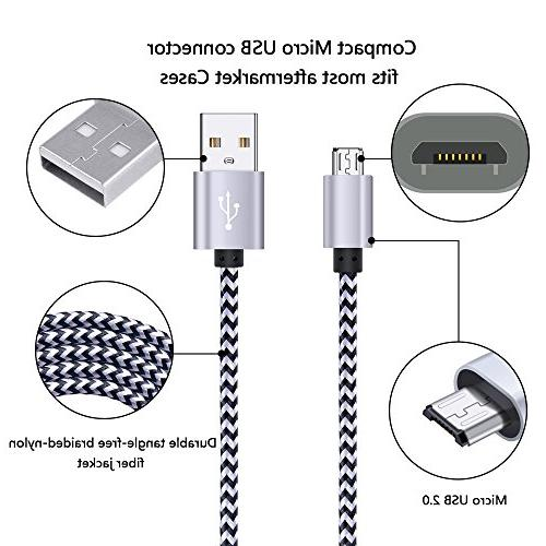 Dual FiveBox Adapter with 2 Braided Micro USB Charging Cord for S6/S7 Edge, J3 LG stylo 2/3 Plus, LG G3 Plus