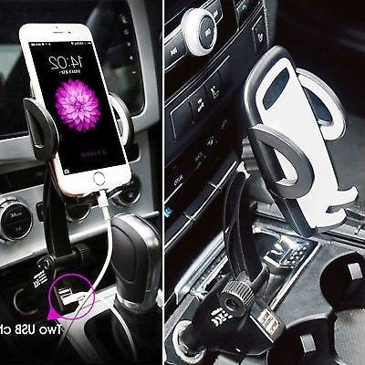 Dual Car Charger Holder Mount With Lighter Chargers