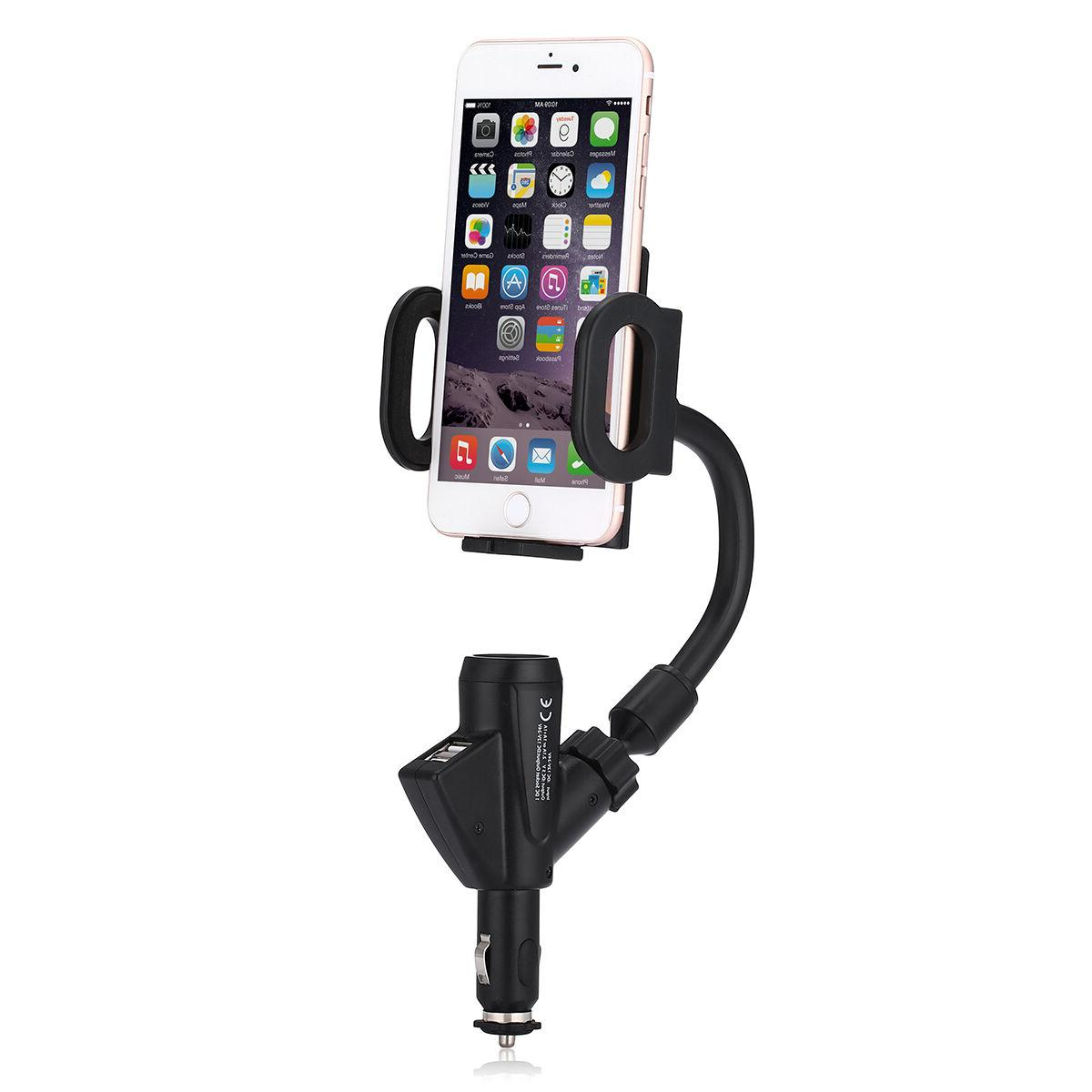 Dual USB Lighter Charger Mount Holder for Cell