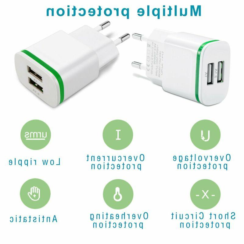 Europe Charger, 2Pack 2.1A 5V Dual Travel Charge