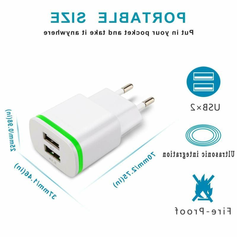 Europe Wall Charger, 2Pack 2.1A 5V Dual USB European Charge