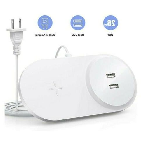 fast wireless charger with dual usb white