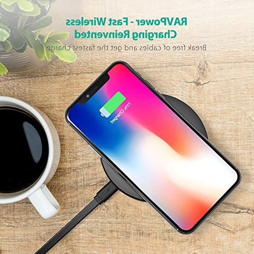 Wireless Charger RAVPower 10W Fast Wireless Charging Pad Quick Charge Compatible S9 S8+ S8 S7 Edge S7 & Standard for X