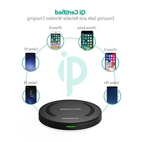 Wireless Charger RAVPower Qi-Certified 10W Fast Pad Charge, Fast Charge Galaxy S8+ S7 & Standard for X