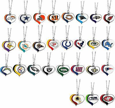 glitter heart necklace swirl charm nfl pick