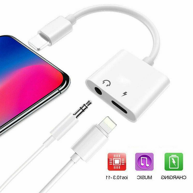For 11 X Xs MAX 7 8 3.5mm Audio Charge Adapter Cable Dongle