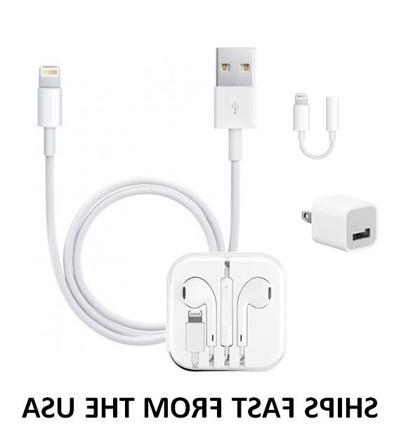 Generic iPhone 6/7/8/+/X Earpods, Wall Charger & Adapter Combo