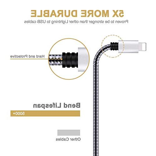 iPhone Charger,3Pack to USB Nylon Braided Charging Compatible with iPhone X 8 8 Plus 6 Plus 5S Mini Pro