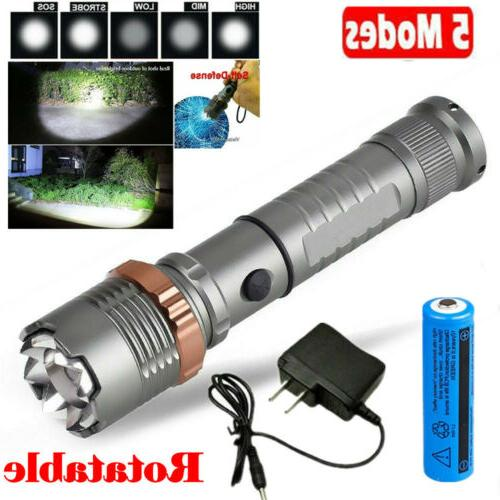 led flashlight 120000lm rechargeable tactical hiking t6