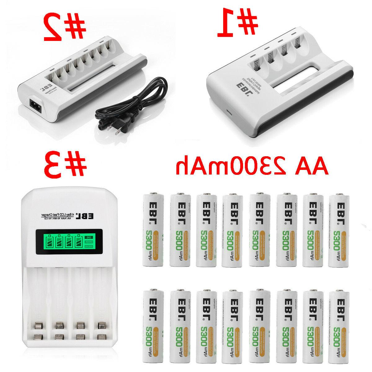 lot 2300mah aa rechargeable batteries charger