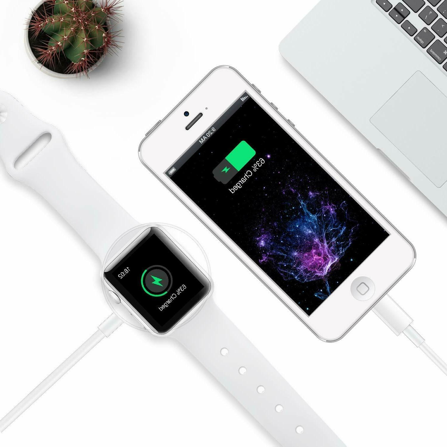 Magnetic Charger 2in1 Cable Watch iWatch 4/3/2/1 iPhone