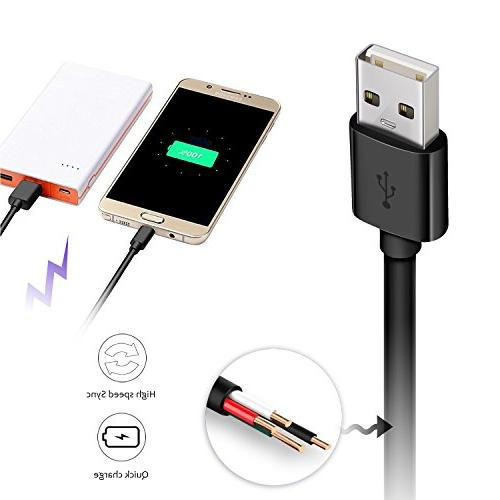 Micro USB 2 Fast Charger Cord Extra Length Samsung Galaxy Edge/S6, LG Sony