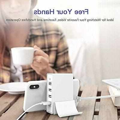 Multi Port USB Charger with Phone Stand, 24W 4.8A 4Port USB