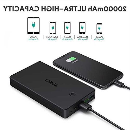 AUKEY 20000mAh Inputs, 3.4A Dual-USB Output Battery Xs/XS Max / iPad Pro and More