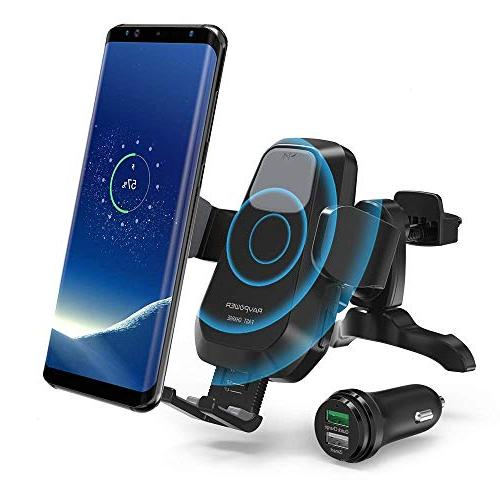 Qi Wireless Car Charger for Air Vent RAVPower Wireless Car Charger Car Phone Holder Compatible with iPhone Xs Max XR X 8 7 Plus Galaxy S9 S8 Note 9 8 and More 4351665448 Power Fast Charge Car Mount