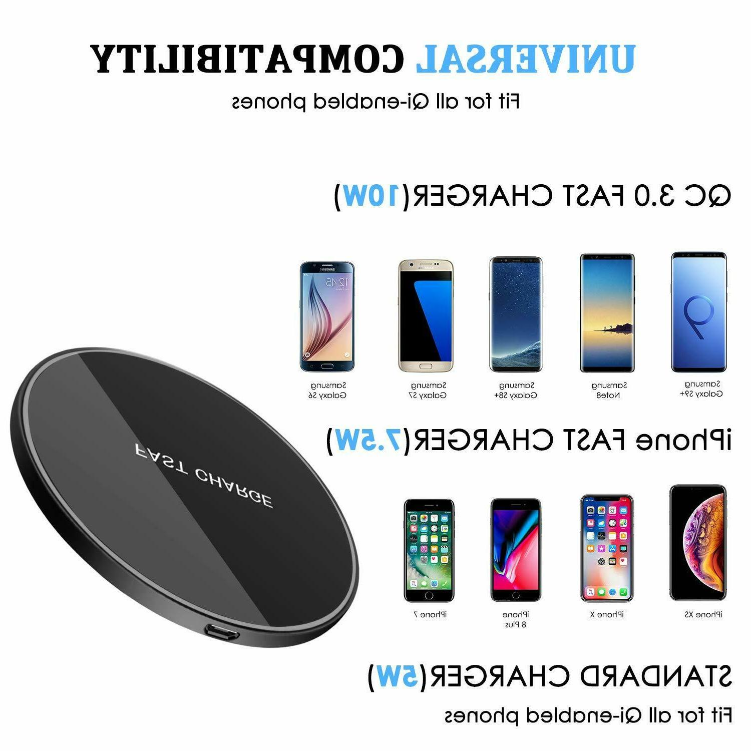 Qi Wireless Fast Charging Pad Iphone Samsung Galaxy Note 8 S8 S7