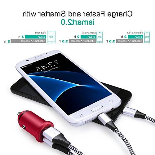 Quick Charger, 2PC Dual USB 24W 4.8A Car Charging Adapter Flush iPhone X/8/8 Plus/7/6s/6s Pro/Air 2/Mini, Galaxy S8/S7/S6/Edge/Plus, LG G5/G6/V20