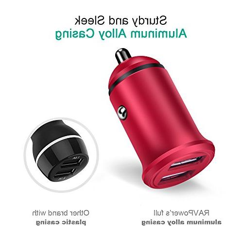Quick Car Charger, 2PC Dual 24W LED Car Charging Flush Pro/Air 2/Mini, LG G5/G6/V20
