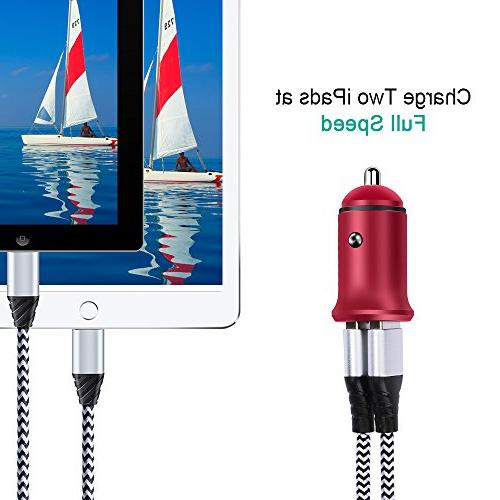 Quick Car Charger, 2PC 24W Car Charging Flush X/8/8 Pro/Air 2/Mini, Galaxy LG G5/G6/V20