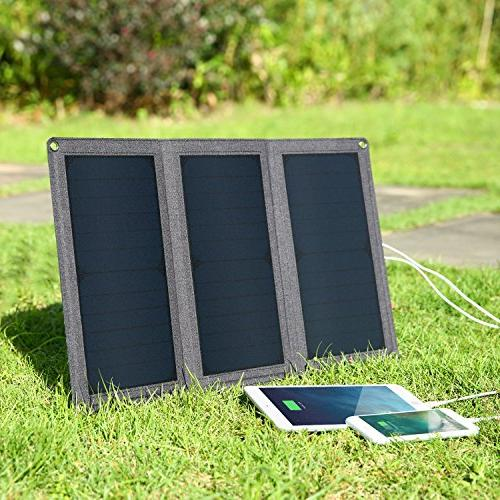 AUKEY 21W Solar Charger with Ports Compatible iPhone iPad Samsung More